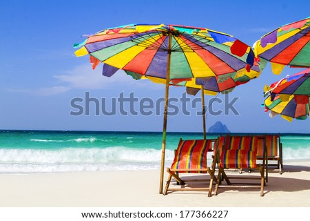Thai beach and umbrella
