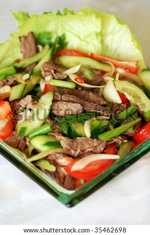 Thai beef salad spicy dish.