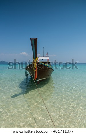 Thai boat longtail boat on the sea beach, Thailand, Koh rok Andaman