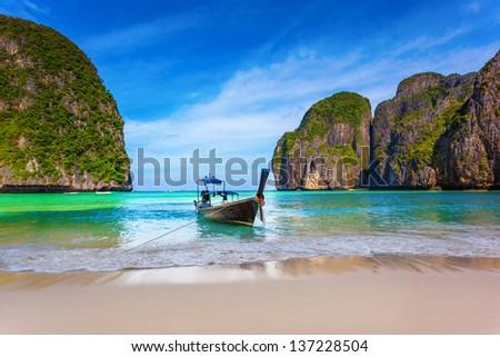 Thai boat on the shore of the island