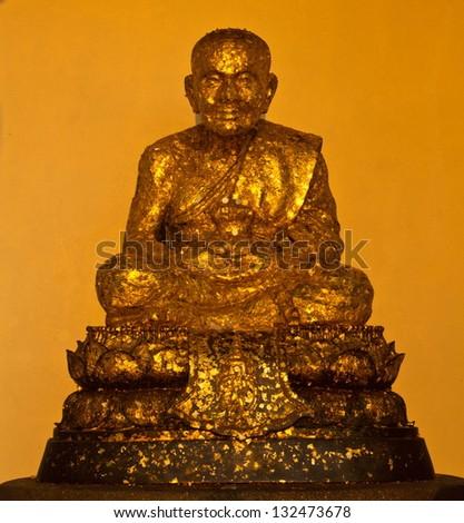 Thai Buddha Golden Statue. Wat Huay Mongkol in Hua Hin Thailand. - stock photo