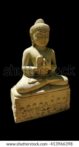 thai buddhism buddha bless statue with clipping paths isolated on black background, side view - stock photo