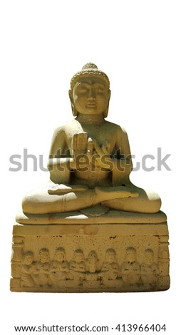 thai buddhism buddha bless statue with clipping paths isolated on white background, front view - stock photo