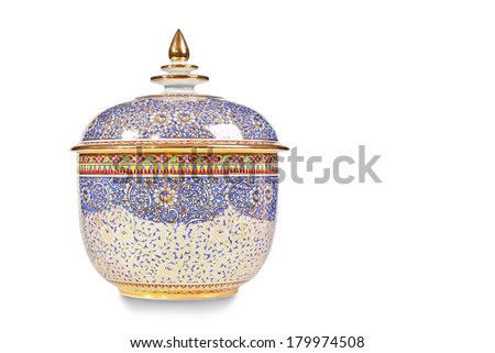 Thai ceramics isolated on white