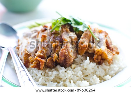 Thai chicken food with rice. - stock photo