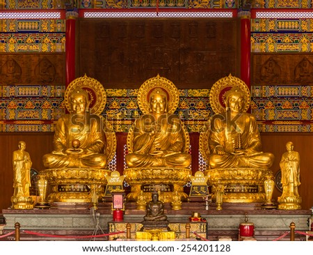 Thai China Buddha Image statue in Wat Leng Nei Yi temple in Bangkok Thailand - stock photo