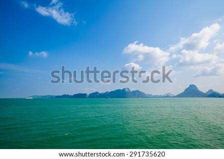 Thai coastline near Suratthani - Donsak and Ko Samui - stock photo