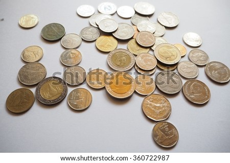 Thai coin baht on white background