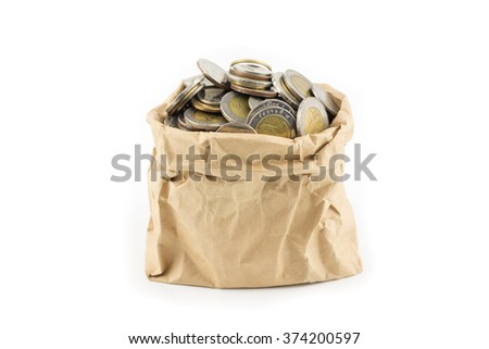 thai coin in wrinkle brown paper bag money concept