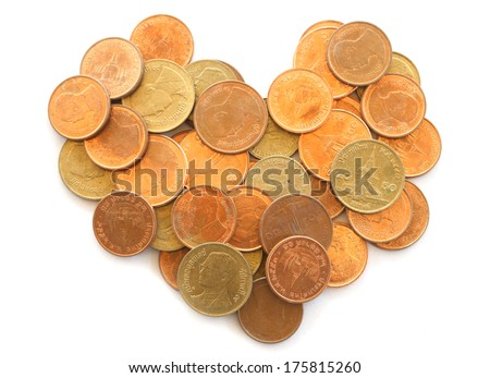 Thai coins in the shape of a heart isolated on white - stock photo