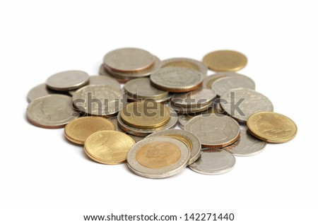 Thai coins isolated on white with selective focus