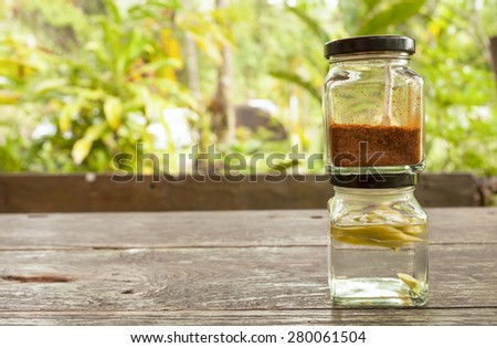 Thai condiment set with space on natural background