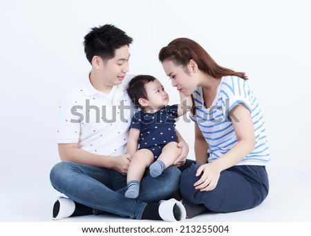 Thai couple family and son smiling with happily isolated - stock photo