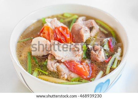 Thai Cuisine and Food, A Bowl of Clear Spicy Hot and Sour Soup.