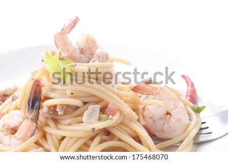 thai cuisine,spaghetti Collection - spaghetti with Shrimp and pork  - stock photo
