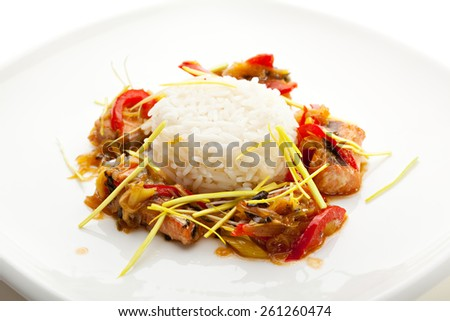 Thai Cuisine - Steamed Rice with Salmon and Ginger Sauce - stock photo