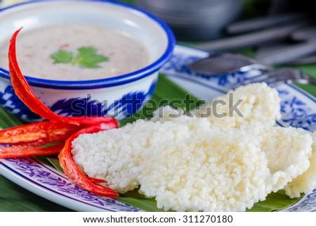 thai cuisine, Thai rice cracker with minced pork - stock photo