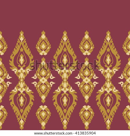 Thai culture traditional temple art ornament, seamless pattern border on bright background. Floral, flame motifs, old styled. Asian, Indonesia style. Vintage simple palette.
