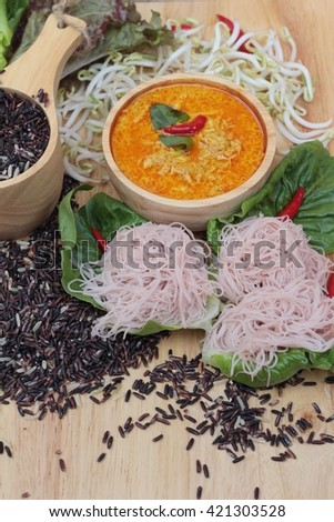 Thai curry with riceberry rice noodle - stock photo