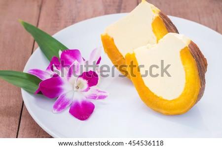 Egg Custard In Pumpkin, Pumpkin Custard,Thai Dessert. Stock Photo ...
