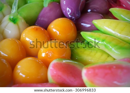Thai dessert made from beans coated with gelatin, molded into various shapes coloring. Selective focus