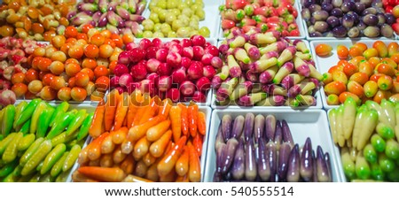 Thai Dessert with fruit shape ,Dessert plating of Thailand foods,(look choop)