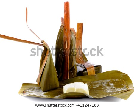 Thai desserts,boiled sweets on white background