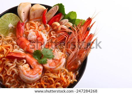 Thai Dishes  Tom Yam Kung noodle - stock photo