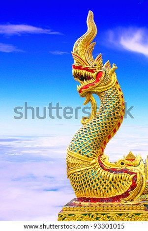 Thai dragon or king of Naga statue - stock photo
