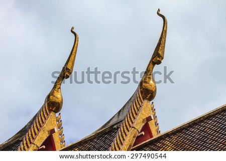 Thai dragon or king of Naga statue in temple