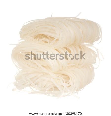 Thai Dried Rice Noodles; Non unsharpen file - stock photo