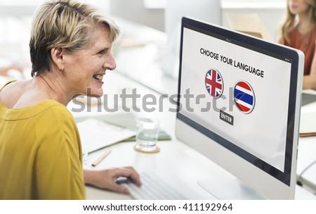 Thai English Language Communication Global Concept - stock photo