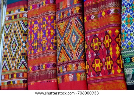 Thai fabric patterns and hand made products made of Thai fabric.