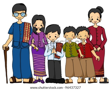 Thai family in Thai traditional costume