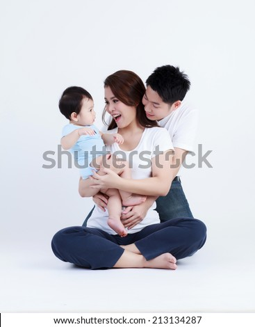 Thai family smiling with happily isolated