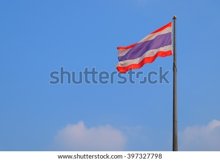 Thai flag and blue sky background