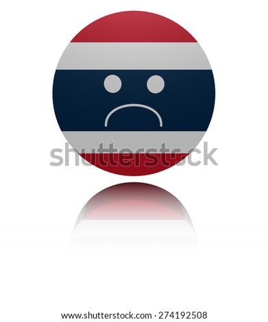 Thai  flag sad icon with reflection illustration - stock photo