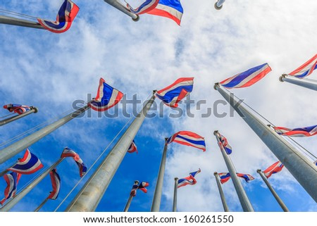 thai flags on the flag pole