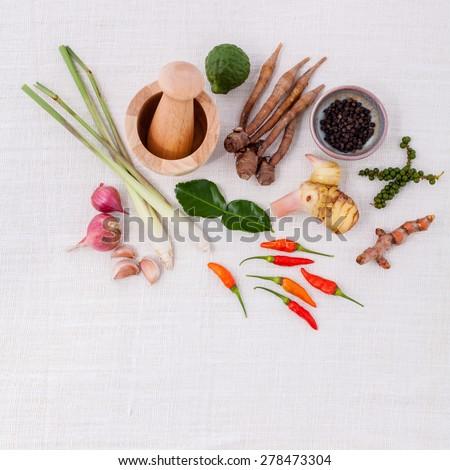 Thai food Cooking ingredients. - Paste of thai popular food. - stock photo