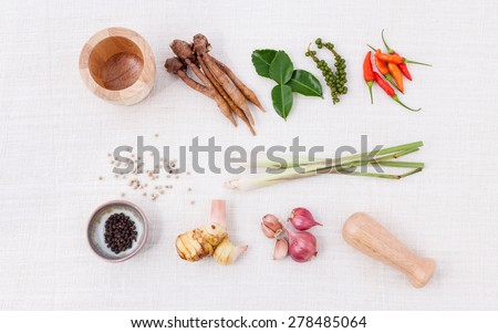 Thai food Cooking ingredients. - Paste of thai popular food. - stock photo