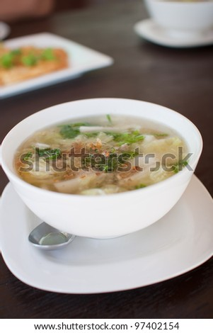 Thai food, famous  soup with vegetables and pork