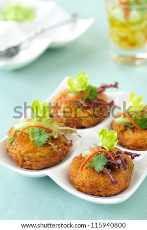 Thai Food Fried Fish Cake (Tod Mun Pla) - stock photo