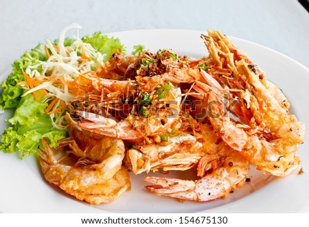 Thai food, fried prawns with salt and chili - stock photo