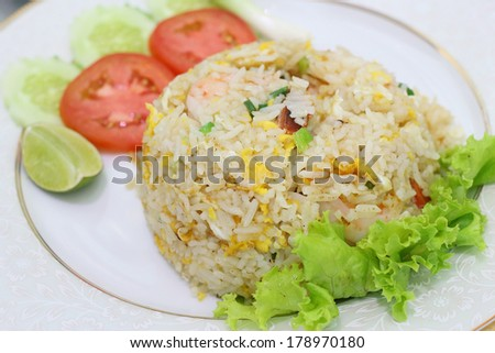 Thai food, fried rice, menu of local food in thailand