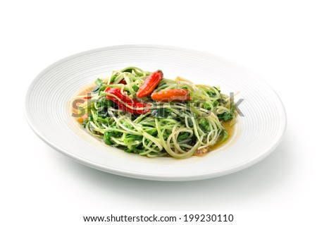 thai food fried Young sunflower  with pepper  - stock photo