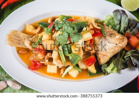 Thai Food : Ingredients of Fish fried with Chili Sweet Sauce
