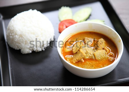 Thai food mussaman curry with rice - stock photo