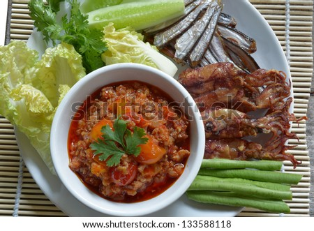 Thai food ,Nam Pik Aoung , chili sauce