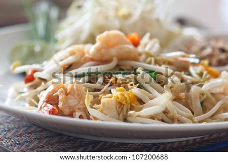 Thai food Pad thai - stock photo