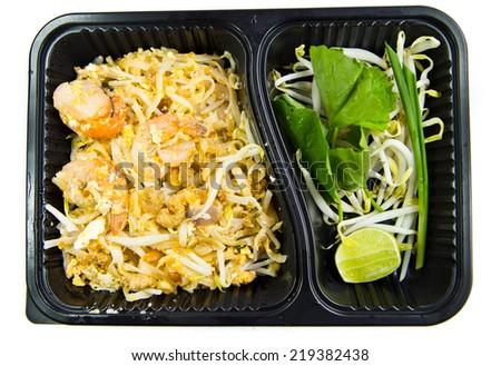 Thai food Pad thai in take away box - stock photo